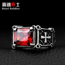 Steel soldier mix color Wholesale Jewelry Lots Vintage Friar Men's double cross Ring With Stone Red/Blue/Black Fashion