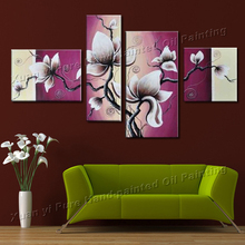 100% Handmade 4 Piece Canvas Wall Art Canvas Modern Art Painting Abstract  Flower Oil Painting Living Room Decorative Pieces
