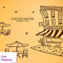 Free Shipping Coffee Shop Vinyl Wall Decal Coffee House Building Table Chairs Mural Art Wall Sticker Cafe Bar Window Decoration(China)