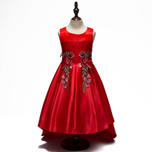 Cute Embroidery Flower Princess Girl Dress Roupas Infantis Menina Taffeta Mesh Sleeveless Trailing Costume for Wedding and Party(China)