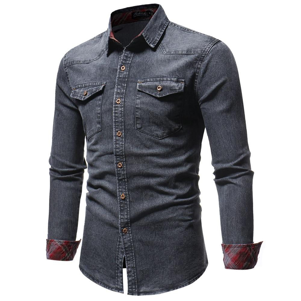 5f5ddcac872 2018 Men Shirt Classic Casual Demin Shirt Long Sleeve Brand-Clothing ...