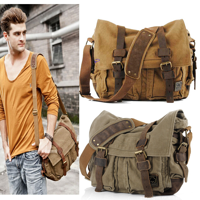 Canvas Leather Crossbody Bag Men Military Army Vintage Messenger Bags Shoulder Bag Casual Travel Bags<br>