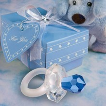 (DHL,UPS,Fedex)FREE SHIPPING+50pcs/Lot+Blue Crystal Nipple Baby Boy Shower Favors Crystal Pacifier Baptism Gift For Guest