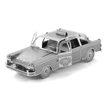 Taxi Metal Puzzle 3D Scale Cars Model DIY Cutting Laser Model Building Kits Mini Auto Miniaturas Assembly Jigsaw Educational Toy