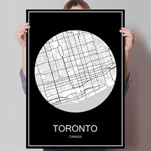 Black White City Map of TORONTO Canada Print Poster Print on Paper or Canvas Wall Sticker Bar Cafe Living Room Home Decoration(China)