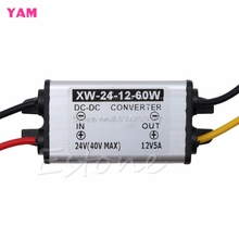 Hot Waterproof Car Truck DC 24V To DC 12V 5A 60W Power Converter Supply Adapter #G205M# Best Quality