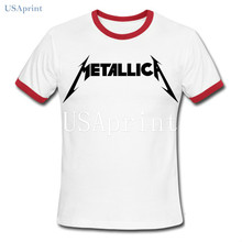 USAprint Hot Rock Men T Shirt Metallica T-Shirt Heavy Metal Band Hiphop Casual Cotton Clothing Teenagers School Fit Basic Summer(China)