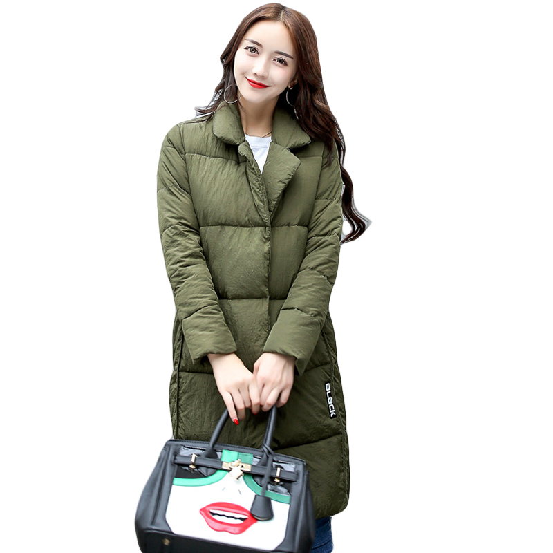2017 Autumn Jacket Women Winter Coat Female Warm Padded Cotton Quilted Coat Ladies Long Slim Suit Collar Outwear Clothing CM9188Îäåæäà è àêñåññóàðû<br><br>