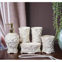 Magrace Europen Style Luxury Ceramic Bathroom Set Five-Piece Set Bathroom Accessories for Home Decoration Wedding Family Gifts(China)