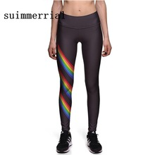 Buy Spring 2018 Fitness Leggings Women Rainbow Printed Striped Leggings Fitness Skinny Legging Sporting Workout Pants for $8.28 in AliExpress store