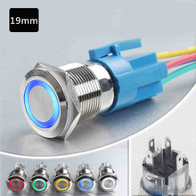 free shipping 19mm waterproof reset self latching 6V 12V red green led metal push button switch for car boat doorbell computer