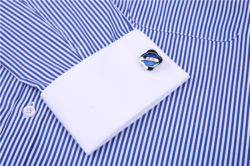 Men French Cufflinks Shirt 19 New Men's Stripes Shirt Long Sleeve Casual Male Brand Shirts Slim Fit French Cuff Dress Shirts 22