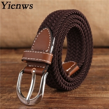 Yienws Brand Knitted Canvas Belt Child Cinto Cowboy Western Belt For Kids Boy Girl Kemer Elastic Belt Strap YB017(China)