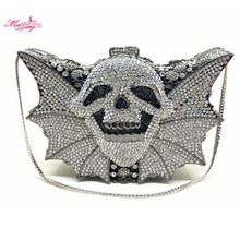Full Crystal Evening Bags Luxury Diamond Cluth Bags Skull Ghost Bats Shape Evening Clutch Bag Party Pochett Mujer Sac Lady Purse