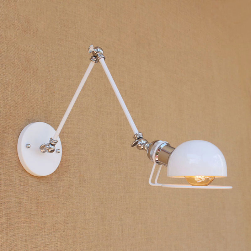 North Europe modern white retro adjust head swing arm wall lamps e27 reading light for workroom bedside bedroom wall sconce<br>