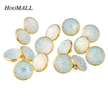Hoomall Brand Rhinestone Buttons 50PCs 12.5mm Plastic Buttons Scrapbooking Sewing Shank Buttons For Clothes Sewing Accessories(China)