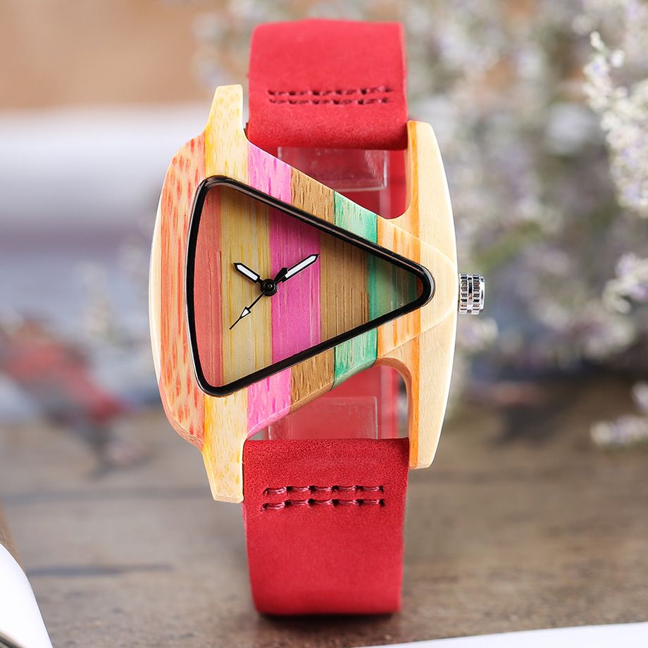 Creative Women Wood Watches Unique Colorful Wooden Triangle Hollow Quartz Wristwatch Ladies Elegant Fashion Genuine Leather Hour (20)