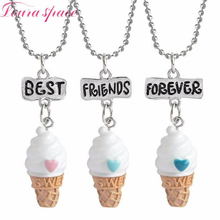 Loura Shace 3pcs Best Friends Forever Ice Cream Pendant Necklaces Love Friendship BFF  Christmas Gift Kids Necklace Jewelery