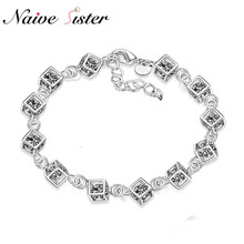 Fashion Cube Charms Bracelet Women's Bracelets For Women Minimalism Crystal CZ Jewelry Christmas Gift Charm Pulseras braclet(China)