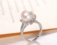 DYY+++430 10-11mm large grain plump bright white fresh water pearl ring genuine woman(China)