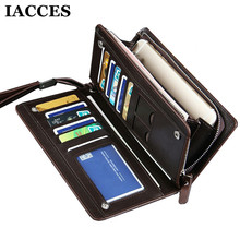 IACCES Brand New Leather Long Wallet Men Purse Male Clutch Zipper Around Wallets Men Money Dollor Price Wallet Bag Mltifunction(China)