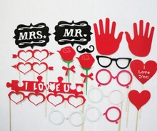 (18pcs/pack,6packs/lot) Photo Booth Props,Heart,Glass,Beard Assort Design Wedding Birthday Party Favor Stick Cards Party Masks