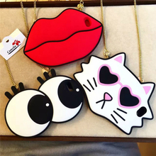 Cute Large Eye/Cat/Red Lip Silicone Case for Iphone 6 6s plus 6Plus Silicone Charm Phone Cases with Strap Chain for iPhone6