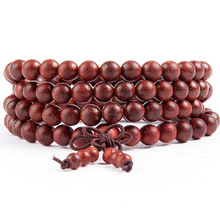 108*6mm Genuine rift grain Red Sandalwood Beads Buddha Malas Bracelet Healthy Jewelry Man Wrist Mala Ne*klace Factory