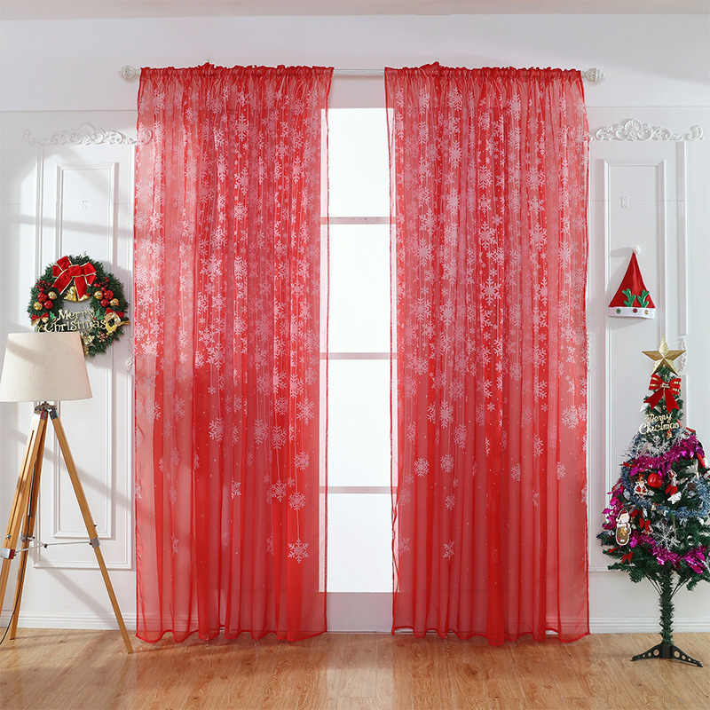 Christmas snowflake red tulle sheer curtains for living kids room  bedroom rustic decorations  home modern fashion voile