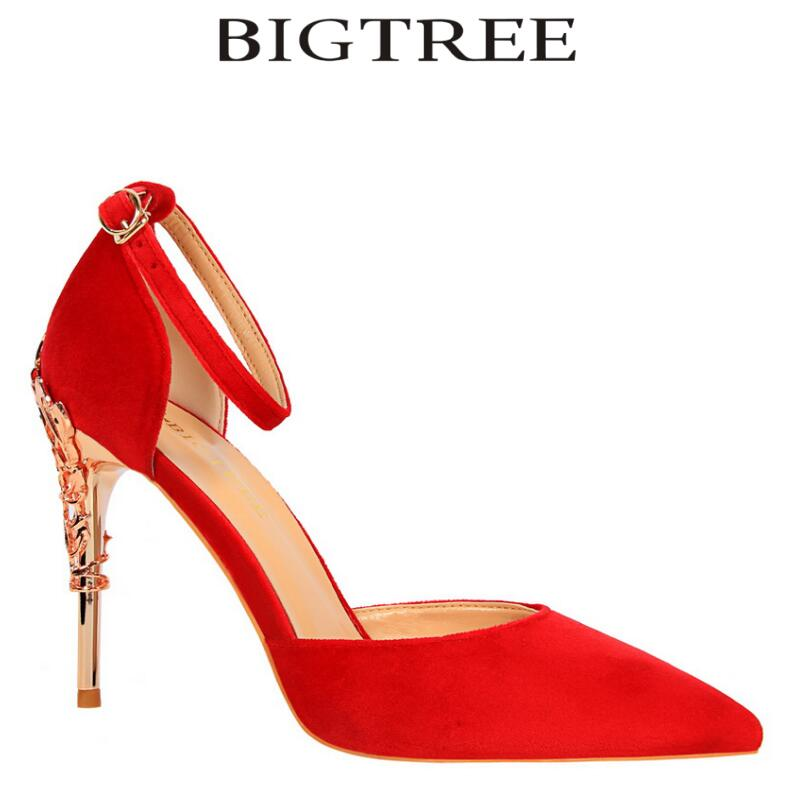BIGTREE 2018 New Summer Shoes Woman DOrsay &amp; Two-Piece Pumps Carved Metal Heel Buckle Strap High Heel Silver Closed Toe Pumps<br>