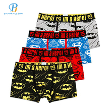 Pink Heroes 4pcs/lot Men Underwear Boxers Cartoon Printed Cotton Boxer Mens Underwear Sexy Brand Comfort Underpants Boxer Shorts(China)