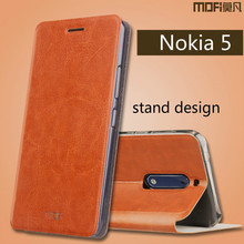 For Nokia 5 Case Original MOFI Luxury Flip PU Leather Cell Phone Case For Nokia5 (5.2 inch) Book Style Leather Stand Cover(China)