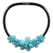 Kakee Handmade Stone Beads Rope Chain Flower Choker Turquoises Necklace for Women Maxi Collar Fashion Jewelry European Style
