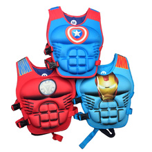 swimming aid vest nylon polyster child 2017 New Kids  Life Vest Superman Batman Spiderman Snow Hulk Iron Man American Captain