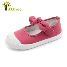 J Ghee Baby Girl Shoes Canvas Casual Kids Shoes With Bowtie Bow-knot Solid Candy Color Girls Sneakers Children Soft Shoes 21-30
