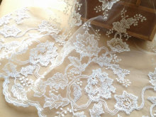 Luxury Alencon Lace Fabric Ivory Bridal Fabric For Blessing Gowns, Weddings, Veils, Altered Couture(China)