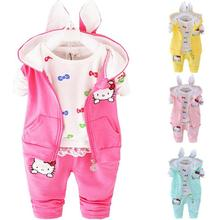 2016 Winter Velvet Toddler Girl Clothing Sets 3pcs Hooded Coats Kids Clothes Sets Baby Girls Winter Clothes Hello Kitty(China)