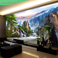 QIANZEHUI,Needlework,DIY the Pine Greeting Guests Cross stitch ,Making money  landscape scenery series ,Wall Home Decro