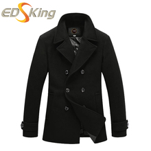 Winter Fashion Man Wool Coat Black Long Overcoat Double Breasted Down Windbreakers Man Long Woolen Male Slim Overcoat Jacket