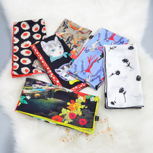70x70cm Fashion Print 100% Silk Bandana Neckerchief Square Silk Scarfs Head Scarves for Hair Wrapping High Quality Hand Rolled