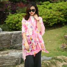 [YWJUNFU] Hot Sale Summer Silk Scarf Women Beach Shawl China Print Floral Scarves Lady Chiffon Big Shawl 150*200cm Girls ZS6015(China)