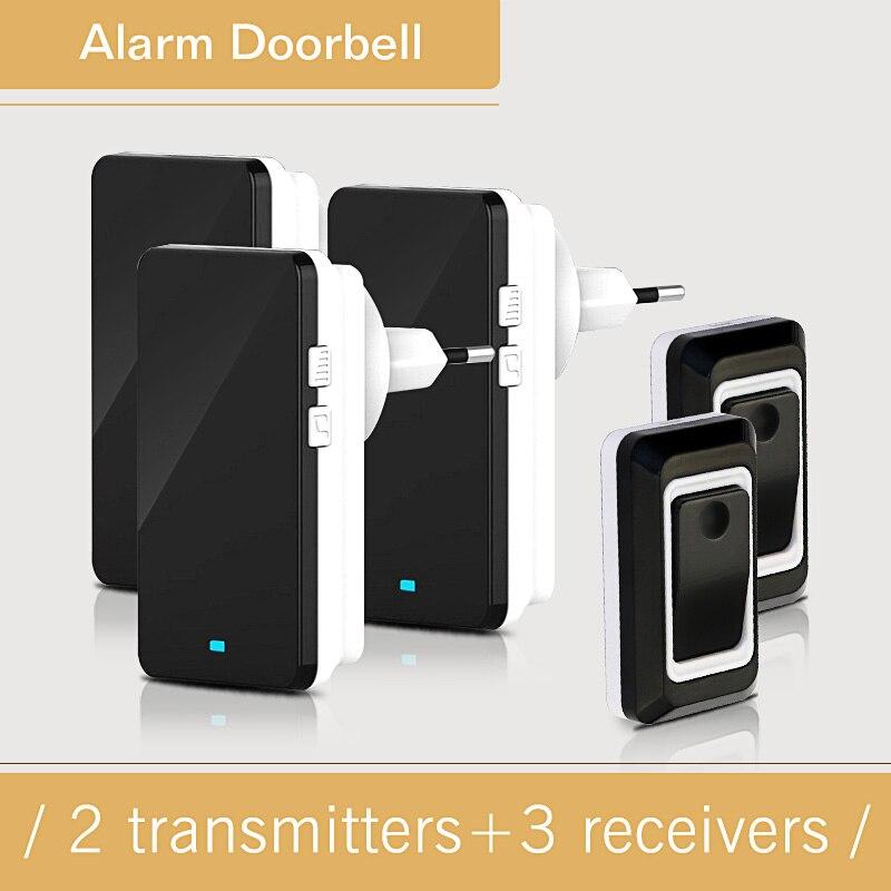 Saful 2V3 Waterproof Electric Wireless Door Bell 220V 28 Chime Doorbells With 2 Transmitter Button + 3 Indoor Receivers Doorbell<br>