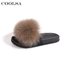 Coolsa New Women's Plush Slippers Fluffy Fur Rabbit hair Slides Flat Rubber Non-slip Girls Casual Outdoor Flip Flops Hot Shoes(China)