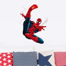 Cartoon Spiderman Wall Stickers for Kids Rooms children room Wall decals Home Decor wallpaper Mural gift christmas decoration(China)