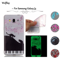 Wolfsay For Samsung Galaxy J3 Case Night Light Cover TPU Glow Case For Samsung Galaxy J3 Case For Samsung J3 Luminous Cover <