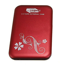 "2.5"" Flower External Hard Drive Disk USB 3.0 SATA HDD Case Box Enclosure Red"