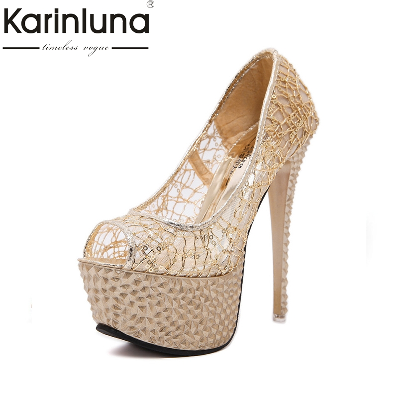 Karinluna 2018 Summer New Brand Fashion Crystal Sandals Super High Heels Party Shoes Woman Thick Platform Shoe Size 34-39<br>