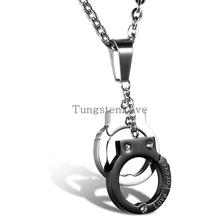 2015 New Fashion jewelry Stainless steel Handcuffs pendant Love Forever necklace for Women Girl lover Valentine's Day gifts(China)