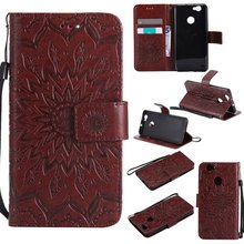 Brown Sun flower pattern PU Leather Wallet Stand Flip Case Cover Lines For Huawei Nova Case