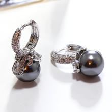 Simulated Dark Grey Pearl Earrings White Cubic Zircon Best Gift Must Buy Women Ball Hook Earings Classic Brincos perola(China)
